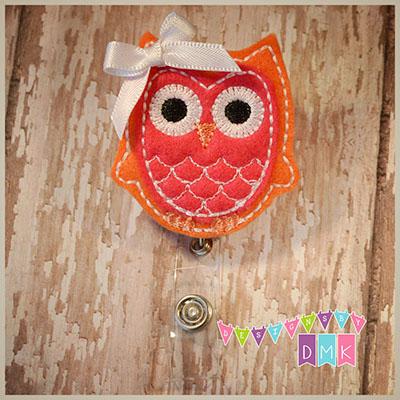 Owl - Orange & Dark Pink Felt Badge Reel