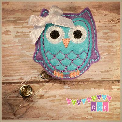 Owl - Purple & Brite Blue Felt Badge Reel
