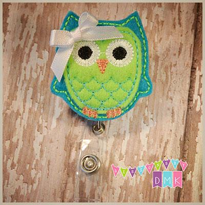 Owl - Turquoise & Lime Felt Badge Reel