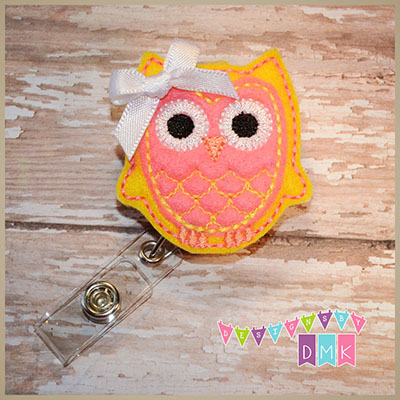 Owl - Yellow & Brite Pink Felt Badge Reel