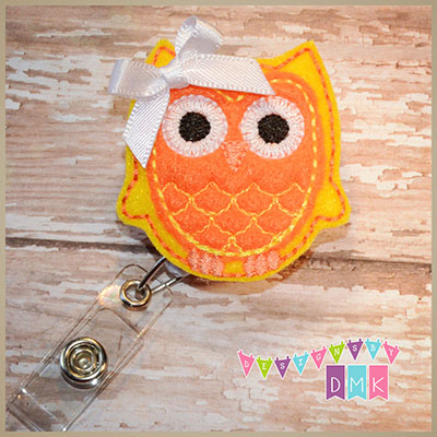 Owl - Yellow & Orange Felt Badge Reel