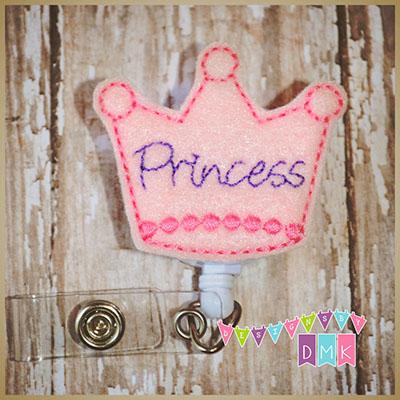 Princess Crown Pink Felt Badge Reel