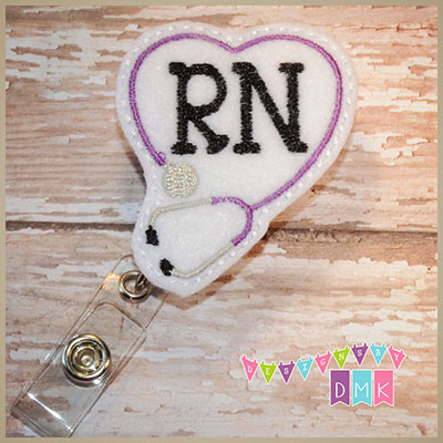 RN Stethoscope Heart Purple on White Felt Badge Reel