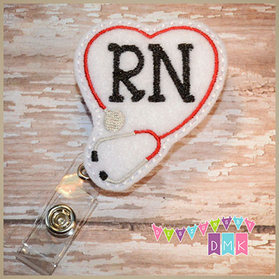 RN Stethoscope Heart Red on White Felt Badge Reel