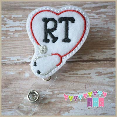 RT Stethoscope Heart Red on White Felt Badge Reel