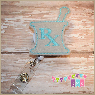 RX Mortar & Pestle - Grey with Brite Blue Felt Badge Reel