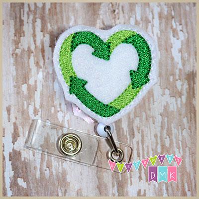 Recycle Heart Felt Badge Reel