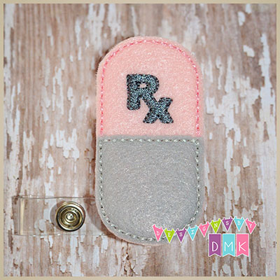 Rx Pill Capsule Pink & Grey Felt Badge Reel