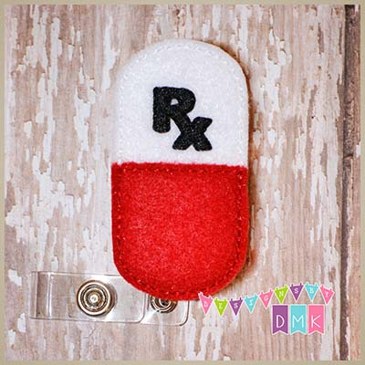 Rx Pill Capsule Felt Badge Reel