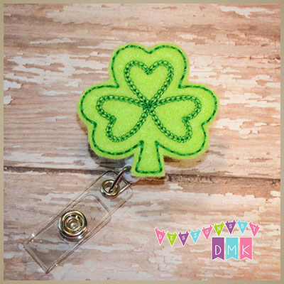 Shamrock - Lime with Green Felt Badge Reel