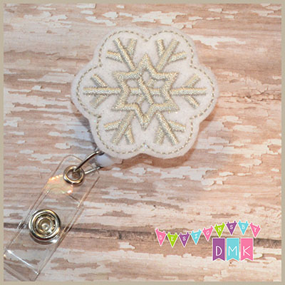 Silver Snowflake Felt Badge Reel