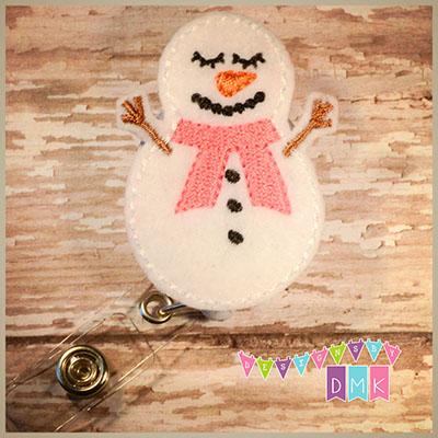 Sleepy Snowman Pink Scarf Felt Badge Reel