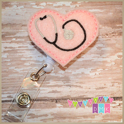 Stethoscope Heart on Light Pink Felt Badge Reel