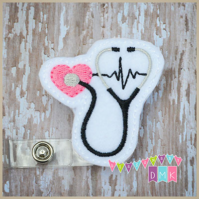 Stethoscope on Heart with EKG Brite Pink Felt Badge Reel