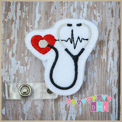 Stethoscope on Heart with EKG Red Felt Badge Reel