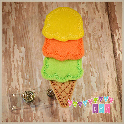 Citrus Triple Dipper Ice Cream Cone  Felt Badge Reel