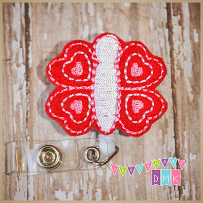Valentine Butterfly Felt Badge Reel