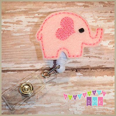 Valentine Elephant Pink Felt Badge Reel