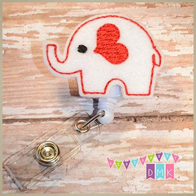 Valentine Elephant White Felt Badge Reel