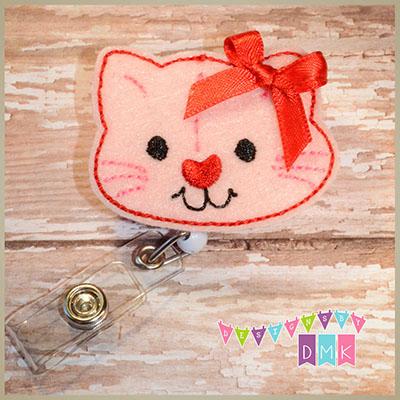 Valentine Kitty Cat Felt Badge Reel