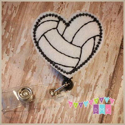 Volleyball Heart Felt Badge Reel