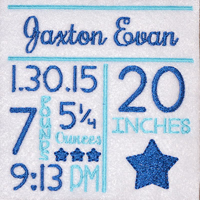 TEMPLATE Birth Announcement Stars Embroidery File