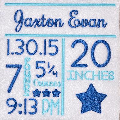 CUSTOM Birth Announcement Stars Embroidery File