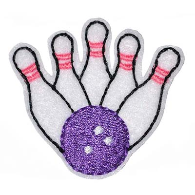 Bowling Ball & Pins Feltie Embroidery File