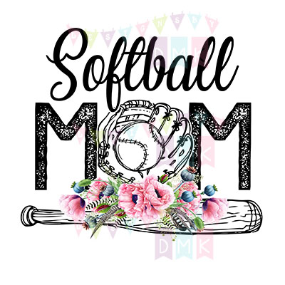 Softball Mom Bat Poppies