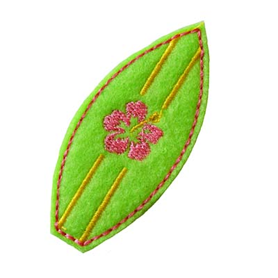 Surfboard with Flower Embroidery File