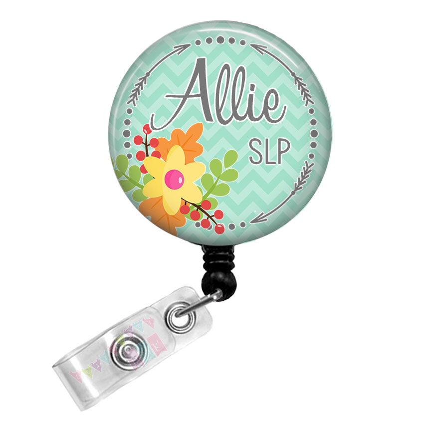 Arrow Circle - Fall Floral - PERSONALIZED -Blue Chevron - Button Badge Reel Retractable