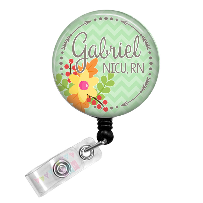 Arrow Circle - Fall Floral - PERSONALIZED -Green Chevron - Button Badge Reel Retractable