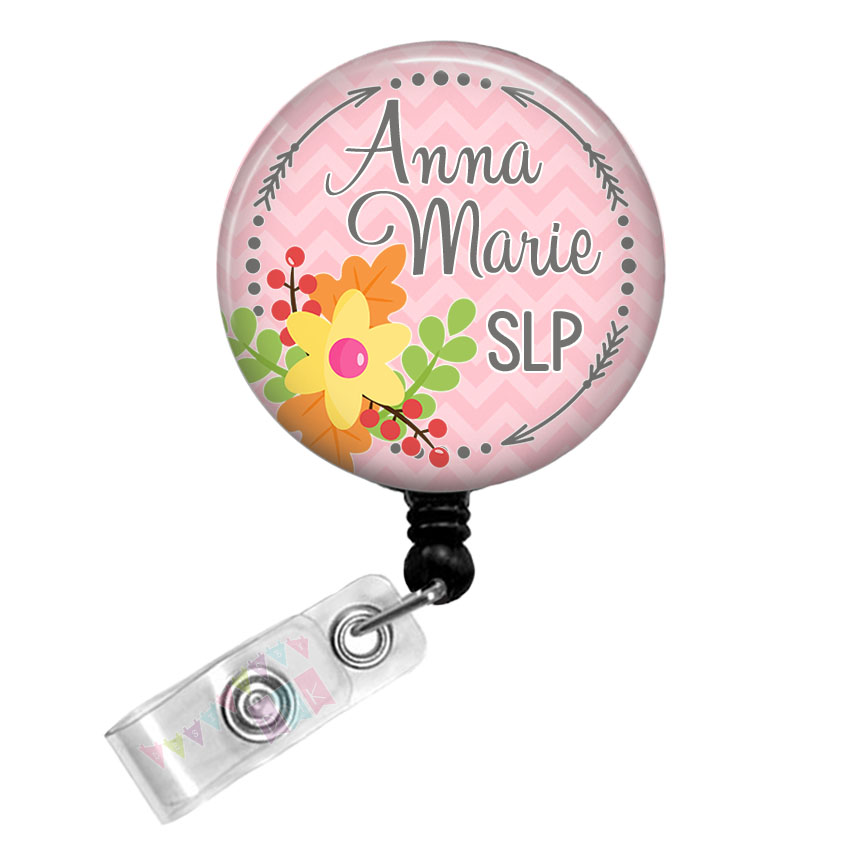 Arrow Circle - Fall Floral - PERSONALIZED -Pink Chevron - Button Badge Reel Retractable