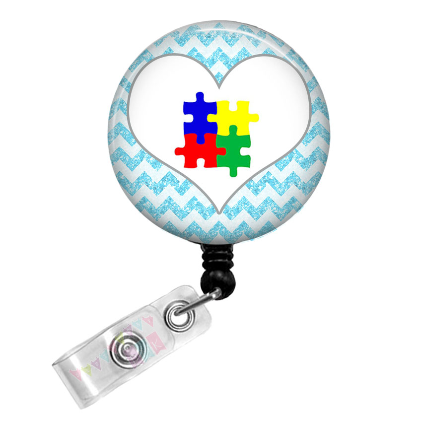 Autism Awareness Puzzle Heart on Brite Blue Glitter Chevron - Button Badge Reel - Retractable ID Holder