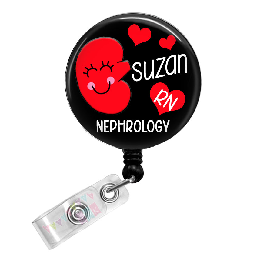 Kynnedy the Kidney - Personalized - Nephrology - Black - Button Badge Reel - Retractable ID Holder