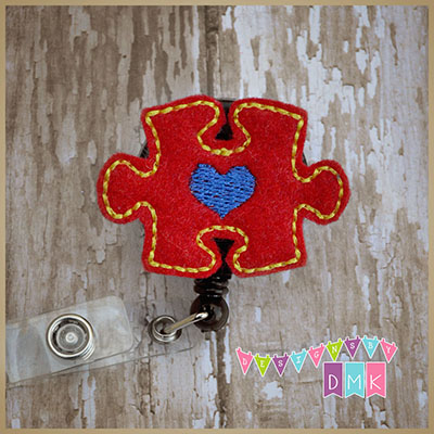 Autism Awareness Puzzle Piece Red Felt Badge Reel