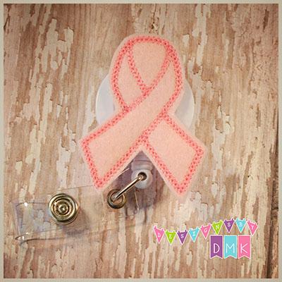 Breast Cancer Awareness Ribbon Pink Felt Badge Reel