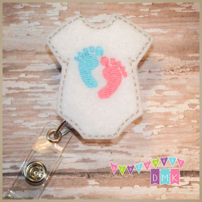 Onesie with Baby Feet Felt Badge Reel
