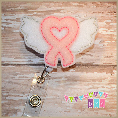 Breast Cancer Awareness Ribbon with Wings Pink Felt Badge Reel