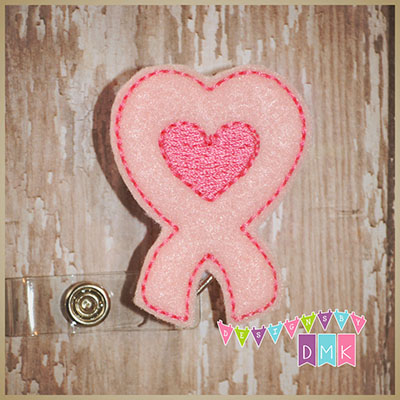 Awareness Ribbon Heart Shaped Pink Felt Badge Reel