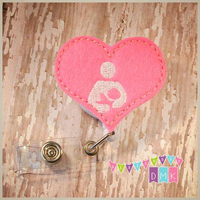 Breastfeeding Symbol Heart Brite Pink Felt Badge Reel