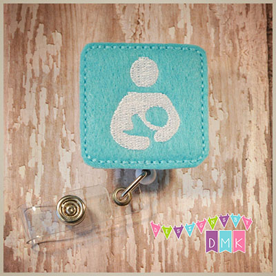 Breastfeeding Symbol Square Brite Blue Felt Badge Reel