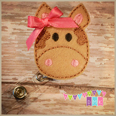 Brown Cow Felt Badge Reel