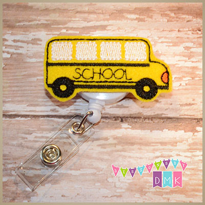 School Bus Felt Badge Reel