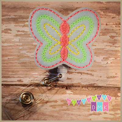 Blue Butterfly Felt Badge Reel