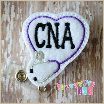 CNA Stethoscope Heart Purple Felt Badge Reel