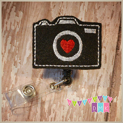 Camera with Heart Lens Felt Badge Reel