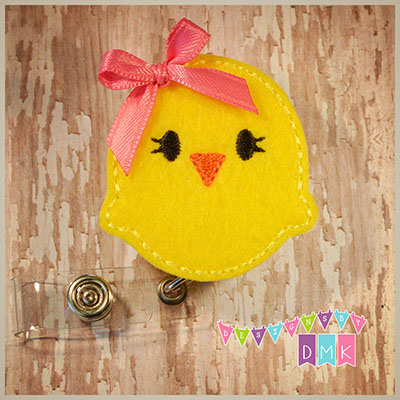 Yellow Chick Felt Badge Reel