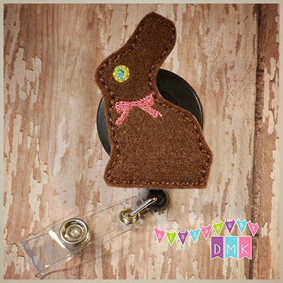 Chocolate Eater Bunny Felt Badge Reel