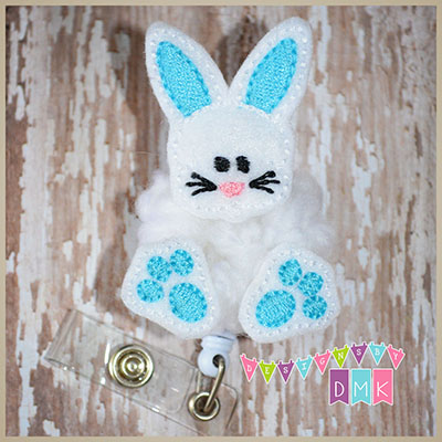 Chubby Bunny with Paws Brite Blue Felt Badge Reel